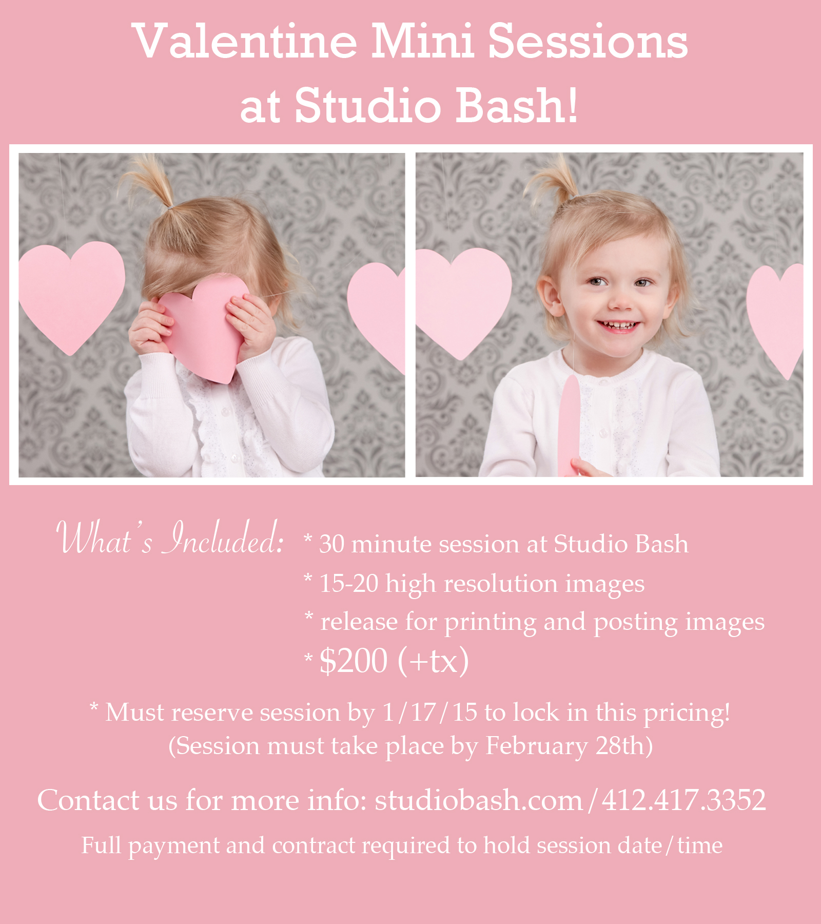 Valentine Mini Sessions at Studio Bash!